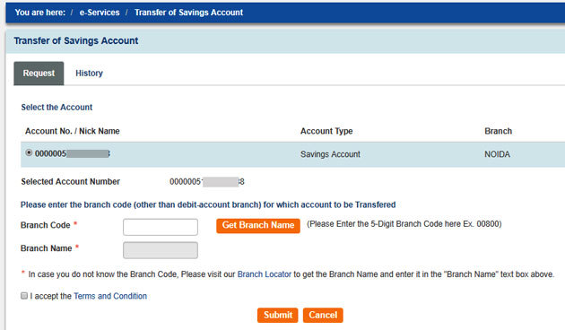 How to transfer your SBI account to another branch online