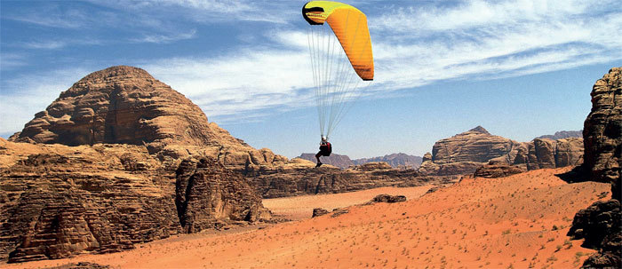 PERFECT PANORAMAS: Tandem parasailing allows you to enjoy a bird's eye view of the Jordanian landscape