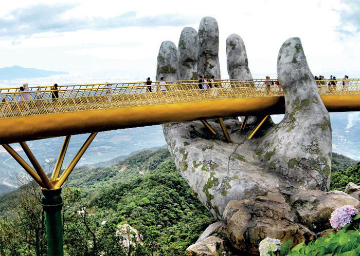 BRIDGE THE GAP: The Golden Bridge on Ba Na Hill near Danang city in Vietnam is an architectural marvel