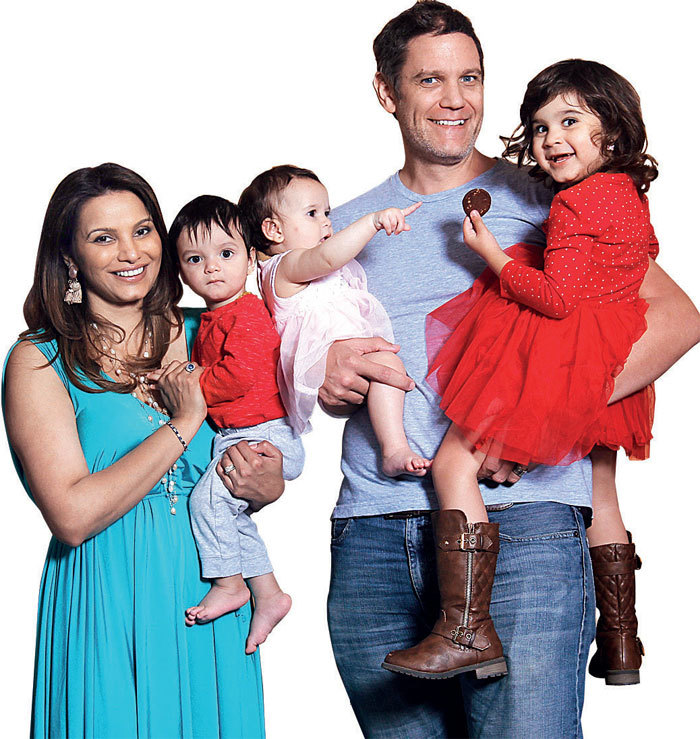 Diana Hayden with twins Rhys and Taylor, husband Collin Dick and daughter Arya