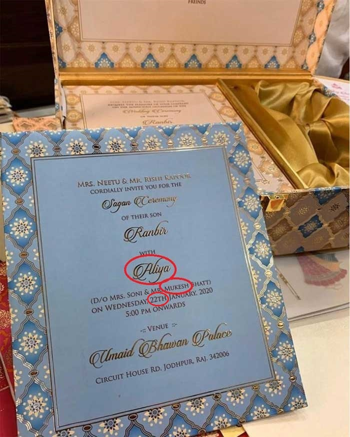 Fake Alia-Ranbir wedding card riddled with t​ypos and incorrect information.