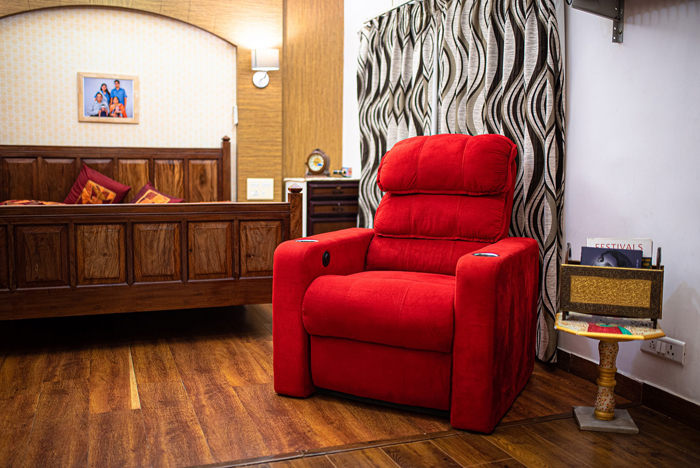Gaurav Mehta's favourite place in the room is a red recliner chair.